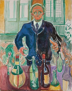 Edvard Munch: Self Portrait With Bottles, by Edvard Munch
