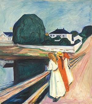 Edvard Munch: The Girls on the Bridge 1927 , by Edvard Munch