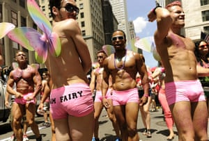 24 hours: New York, US: Marchers walk down 5th Avenue during Gay Pride 2012
