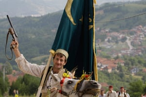 24 hours: Prusac, Bosnia: A Bosnian horseman dressed in a traditional outfit