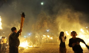 24 hours: Kathmandu, Nepal: Devotees carry traditional torches during festivities