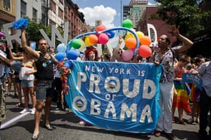 Gay pride week: New York, US: Marchers show their support for Obama
