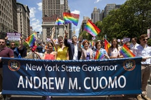 Gay pride week: New York, US: New York Governor Andrew Cuomo and Christine Quinn