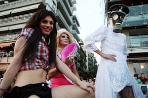 Gay pride week: Thessaloniki, Greece: Participants of the first gay pride march