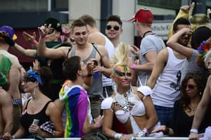 Gay pride week: Berlin, Germany: Participants on a float during the march