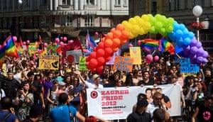 Gay pride week: Zagreb, Croatia: Participants display banners and placards