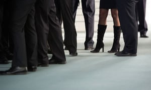 business woman with men feet