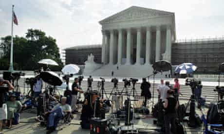 Supreme Court as the media gathers