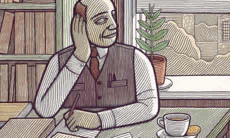 Illustration of man at desk looking out of a window