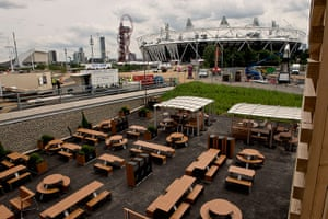 McDonald's Olympic park: The outdoor seating at the McDonald's in the Olympic Park