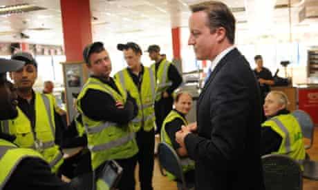 David Cameron meeting workers at an Asda distribution centre in Dartford, Kent