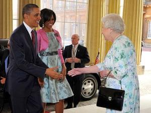 Queen shaking hands: US President Barack Obama Visits The UK