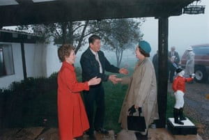 Queen shaking hands: A Reagan Welcome