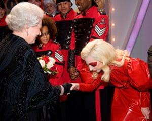 Queen shaking hands: Queen meets Lady Gaga