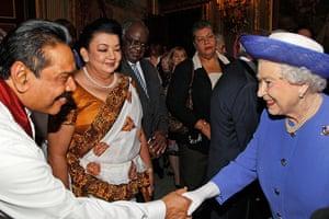 Queen shaking hands: Queen Elizabeth meets president of Sri Lanka
