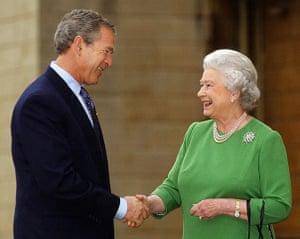 Queen shaking hands: Bush Bids Farewell to Queen