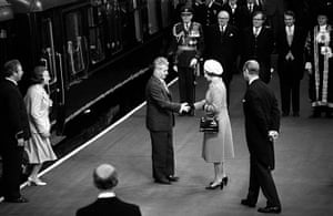 Queen shaking hands: Queen meets President Nicolae Ceausescu of Romania