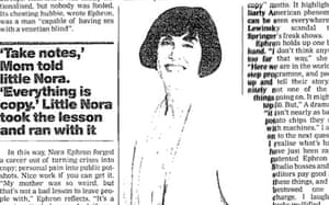 Nora Ephron interviewed by Xan Brooks in 1999
