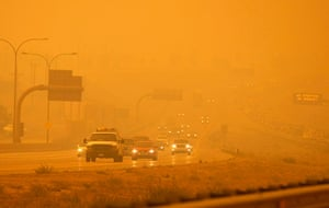 Wildfires in Colorado: Smoke from the fire engulfs the highway north of Colorado Springs