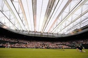 Day 3 Wimbledon: Centre Court roof closed at Wimbledon 2012
