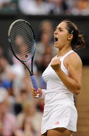 Day 3 Wimbledon: Tamira Paszek celebrates winning the 2nd set