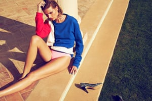 Swimming Pool Fashion: Model wearing red and blue Mondrian style jumper