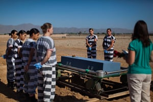 All-female chain gang: Inmates help bury an unclaimed body at White Tanks Cemetery