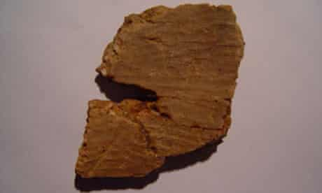 One of the pottery fragments recovered from the Xianrendong cave in south China's Jiangxi province