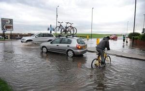 UK Flooding: Whitley Bay, North Tyneside: Heavy rain and thunderstorms
