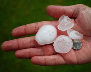 UK Flooding: Belton, Nottinghamshire: Hail stones that fell yesterday