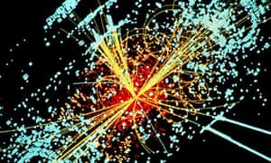 Simulated collision of protons in the LHC creating a Higgs boson