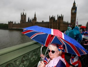 Jubilee pageant: Sue Ridley waits on Westminster Bridge for the Royal Barge
