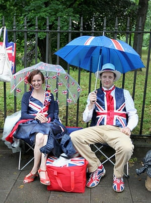Jubilee pageant: Revellers queue to enter a Jubilee Party in Battersea Park