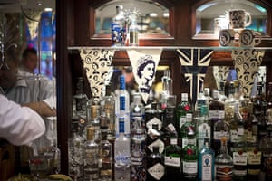 Jubilee pageant: A London pub features bunting with Queen Elizabeth