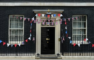 Jubilee pageant: Decorated Number 10 Downing Street