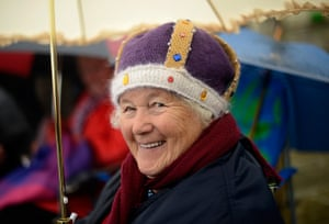 Jubilee pageant update: Spectator Janet Mead smiles as she waits for the start of the pageant