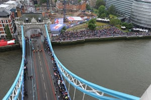 Jubilee pageant update: Crowds gather on Tower Bridge and along the bank of the River Thames