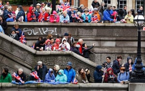Jubilee pageant update: Spectators wait for the start of the pageant along the River Thames