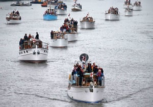Jubilee boat pageant: Boats muster on the River Thames