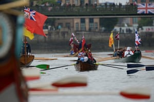 Jubilee boat pageant: Participants row a boat prior the start of Thames Diamond Jubilee Pageant