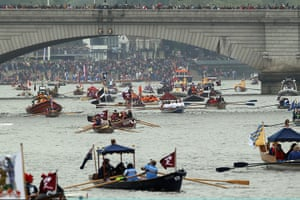 Jubilee boat pageant: Boats line up for the start of the Diamond Jubilee River Pageant