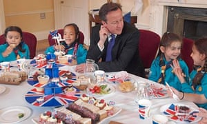 David Cameron with Scouts at the Downing Street jubilee party