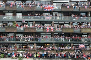 Jubilee Thames pageant: Revellers line the route during the Diamond Jubilee River Pageant