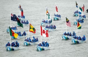 Jubilee Thames pageant: Boats bearing the flags of the commonwealth
