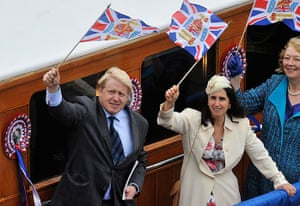 Jubilee Thames pageant: London Mayor Boris Johnson with his wife Marina wave flags