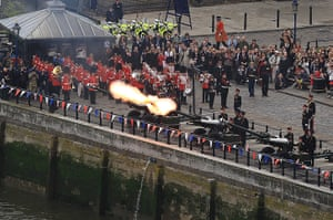 Jubilee Thames pageant: A gun salute is fired from the banks at the Tower of London