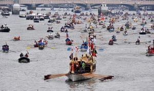 Jubilee Thames pageant: Royal barge Gloriana leading the royal flotilla