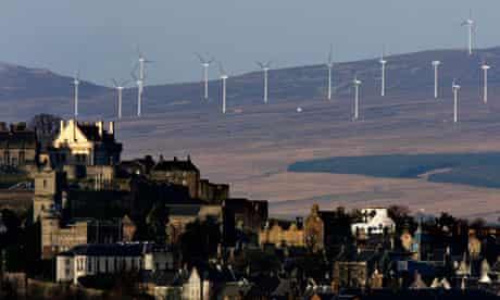 Wind turbines near Stirling, in Scotland