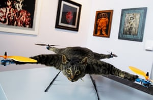 Orville, the flying cat: Orville, a flying helicopter cat made by artist Bert Jansen