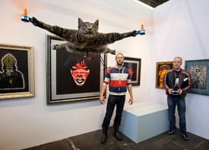 Orville, the flying cat: The Orvillecopter by Dutch artist Jansen flies in a gallery